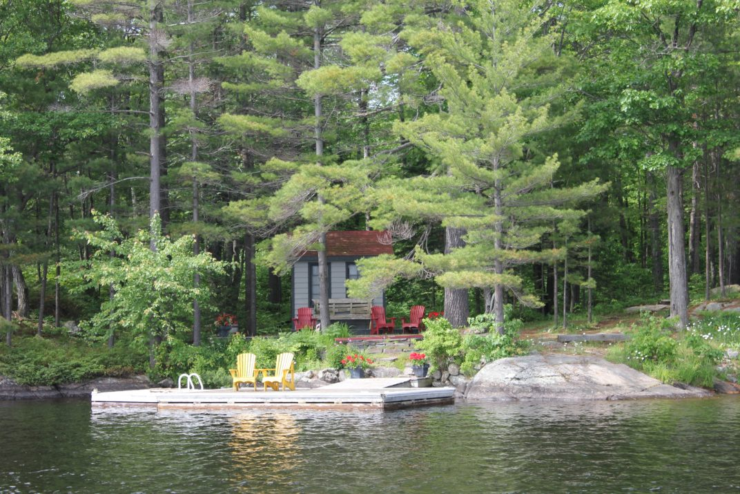 Muskoka Gravenhurst Kahshe Lake Kilworthy Bunkie Shore Dock Seating
